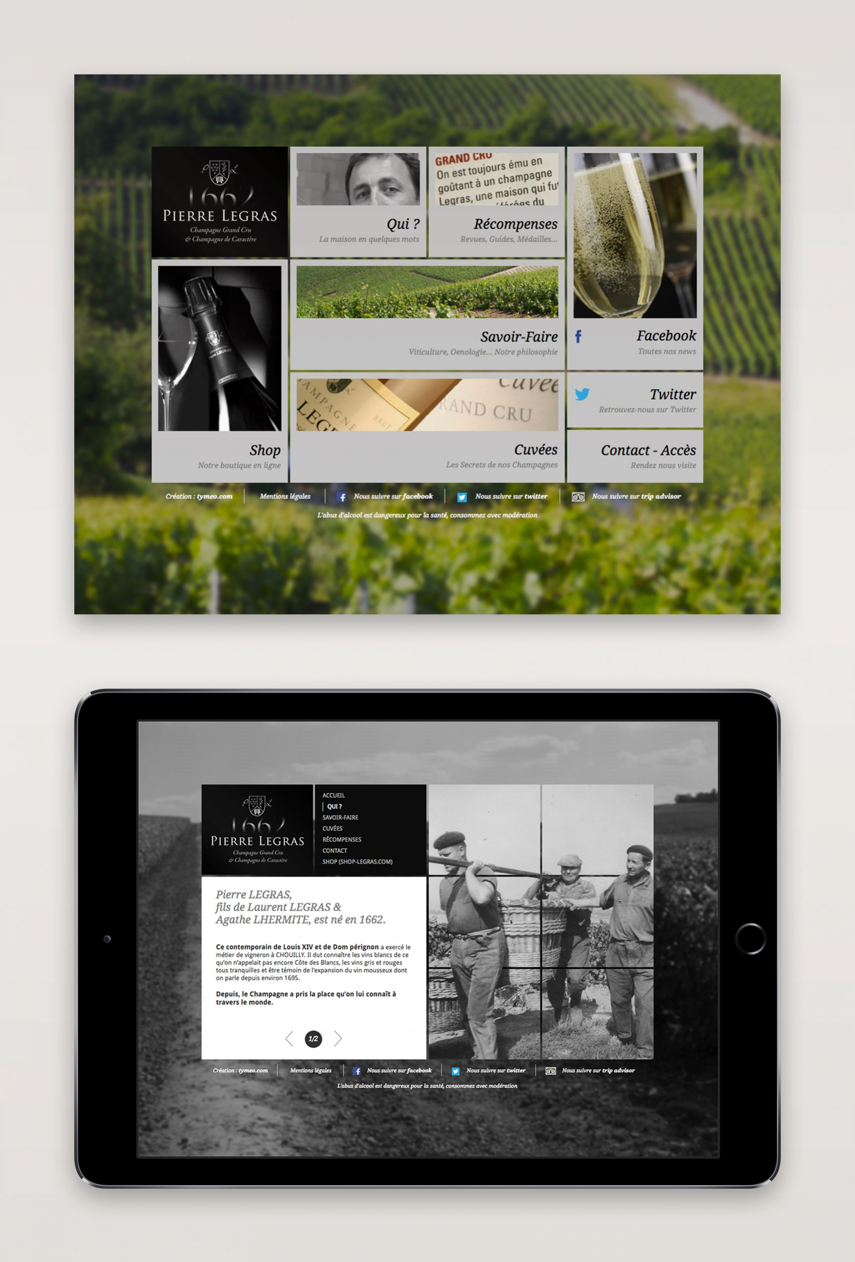 Pierre Legras Site internet Champagne